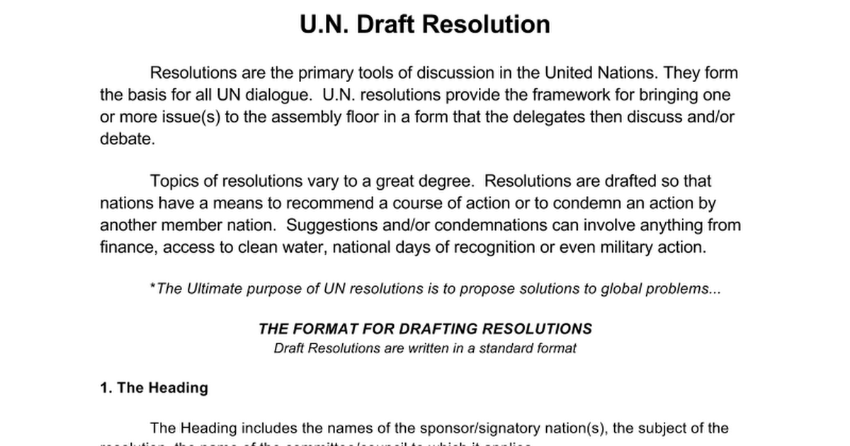 u n draft resolution format google docs