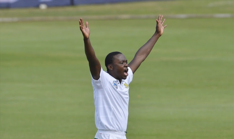 Kagiso Rabada of South Africa celebrate during day 1 of the 2nd Sunfoil Test match between South Africa and Australia at St George's Park on March 09, 2018 in Port Elizabeth, South Africa.