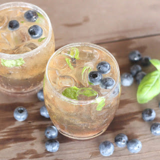 Blueberry Basil Bourbon Cocktail.