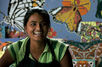 Photo: The beautiful art work and a happy artist again at EBT in Nepal