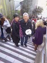 Photo: Alice Xavier (left), one of the two principle organizers of the original 16th Avenue Tiled Steps project on Moraga Street between 15th and 16th avenues, and Gee Kin Chou, who also was deeply involved in the original steps, provided invaluable guidance during the early stages of the Hidden Garden Steps project; both were among those joining the opening celebration (Saturday, December 7, 2013) for the Hidden Garden Steps (16th Avenue, between Kirkham and Lawton streets in San Francisco's Inner Sunset District).  For more information about the Steps, please visit our website (http://hiddengardensteps.org), view links about the project from our Scoopit! site (http://www.scoop.it/t/hidden-garden-steps), or follow our social media presence on Twitter (https://twitter.com/GardenSteps), Facebook (https://www.facebook.com/pages/Hidden-Garden-Steps/288064457924739) and many others.