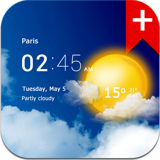 Transparent clock weather Pro