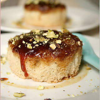 Individual Apricot Upside-down Cakes.