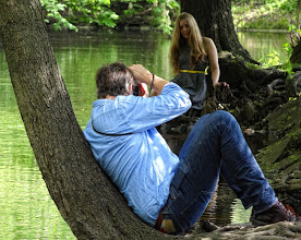 Photo: Modeling on the river bank.