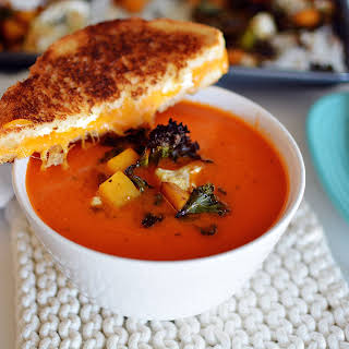 Butter Tomato Soup with the Creamiest Grilled Cheese and Balsamic Roasted Veggies.