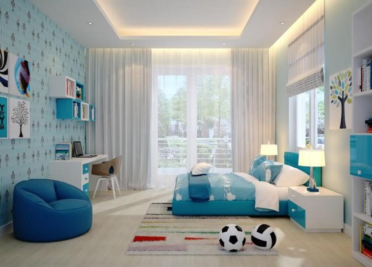 Mẫu phòng ngủ phù hợp với bé trai được trang trí cây cối thiên nhiên