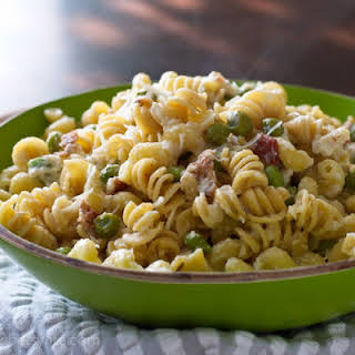 Pasta with Bacon, Peas and Edamame.