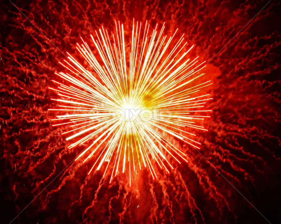 Red by Taylor Mushinski - Abstract Fire & Fireworks ( red, bright, explosion, fireworks, pennsylvania )