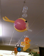 Photo: Hootie, the BlowFish; Squiggy, the Octopus; ceiling danglers