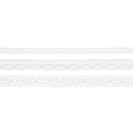 3-pack Spetsband vit
