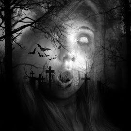 haunted by Kathleen Devai - Digital Art People ( monochrome, gothic, bats, grave, halloween, fear )