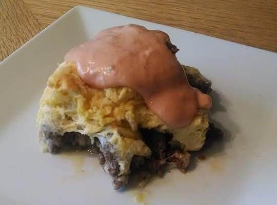 Cheeseburger Casserole With Blooming Onion Sauce