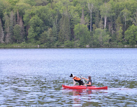 Photo: Dog on kayak at Ricker Pond State Park by Linda Carlsen Sperry