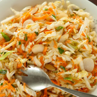Napa Cabbage Coleslaw with Miso Dressing.