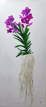 Photo: Orchidee mit Wurzeln, Acryl auf Keilrahmen, 30x70; archid with roots, acrylic painting on canvas, 30x70 cm