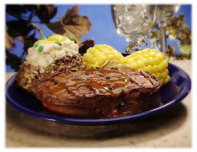 Photo: Steak Cake, Baked Potato & Corn-on-the-cob