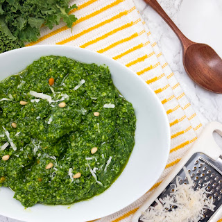 5 Minute Kale Pesto with Parmesan and Pine Nuts Recipe