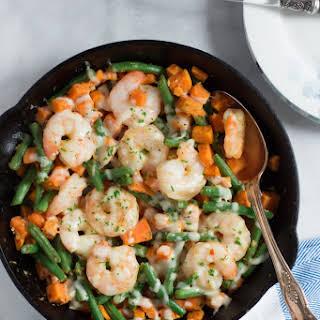 Sweet Potato Green Beans Shrimp Skillet.