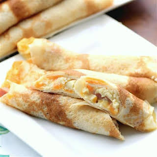 Egg, Ham and Cheese Stuffed Crepes.