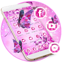 Pink Neon Butterfly Theme Wallpaper & Lock Screen icon