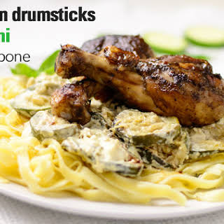 Chicken Drumsticks With Zucchini Mascarpone Sauce.