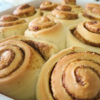 Cinnamon Rolls with Caramel Frosting.