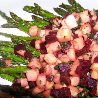 Beet and Cucumber Relish With Grilled Asparagus