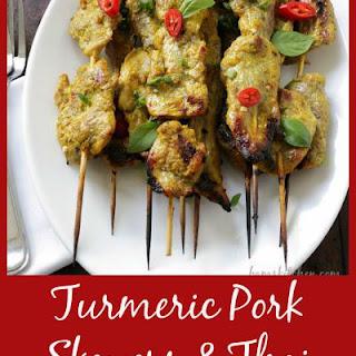 Turmeric Pork Skewers & Thai Basil Dipping Sauce.