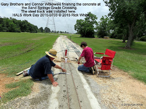 Photo: Gary Brothers and Connor Witkowski finishing the concrete at the Sand Springs Grade Crossing.  The steel track was installed here.    HALS Work Day 2015-0703 © 2015 Rick White