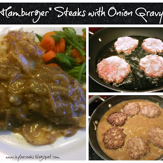 """""""Hamburger"""" Steaks with Onion Gravy."""
