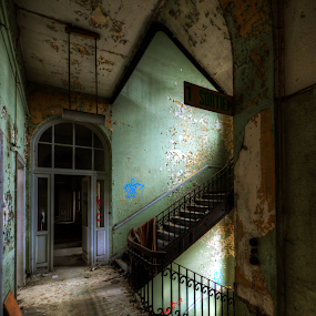 Staircase decay by Richard Huntjens - Buildings & Architecture Other Interior ( urbex, stairs, hospital, abandoned, decay )