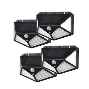 Set 4 x Lampa 100 LED cu panou solar, senzor de miscare