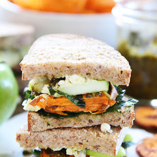 Roasted Sweet Potato Sandwich with Apples, Pesto, Kale, and Blue Cheese