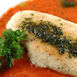 Gazpacho-Sauced Chicken Breasts With Basil-Oil