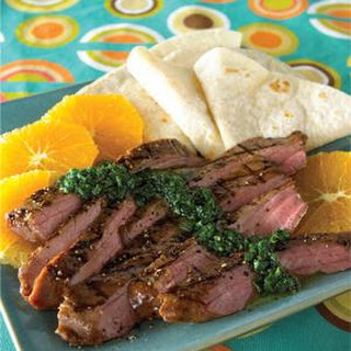 Grilled Steak with Chimichurri Sauce and Orange Slices Recipe