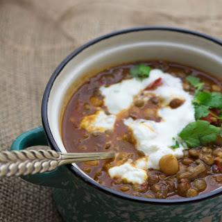 Moroccan Chickpea & Lentil Soup.
