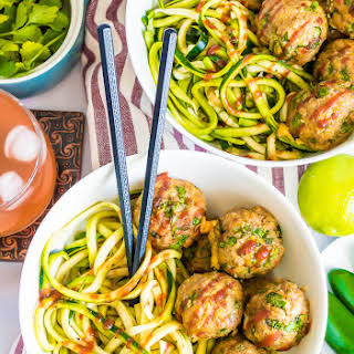 SRIRACHA TURKEY MEATBALL ZOODLES.
