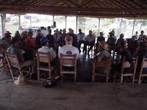 """Photo: Dr. Norman Uphoff monitoring a SRI workshop at the """"Empresa de Ganaderia de Pinar del Río in Carlos Rojas, Pinar del Río, Cuba, July 2004. (Photo by Rena Perez)"""