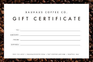 Bauhaus Coffee Co. - Gift Certificate Template