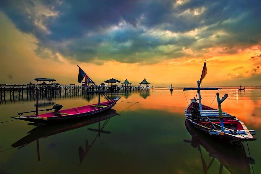 Two by Eep Ependi - Landscapes Sunsets & Sunrises ( kenjeran, sunrise, boat, landscapes, surabaya )