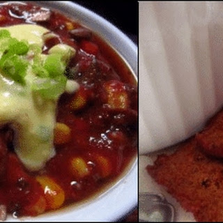 """Cheesy"" Chili with a Side of Crackers."