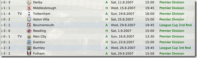 Wigan matches of the first months. Weak start.