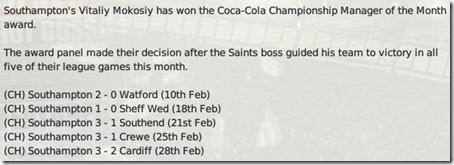 I was named the Manager of the Month for 5 straight wins in the League