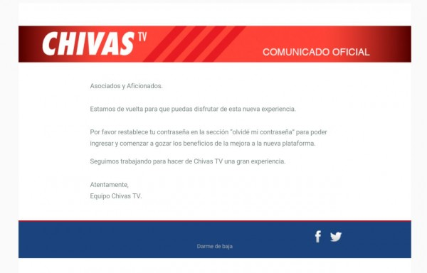 Chivas TV Comunicado
