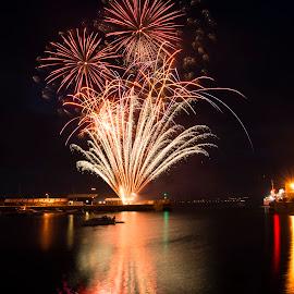Mazey Eve Fireworks by Sarah Tregear - Public Holidays July 4th ( penzance, mazey, eve, harbour, fireworks, golowan, cornwall,  )