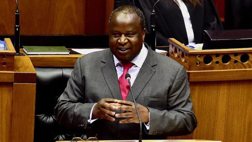 Finance minister Tito Mboweni delivers his budget speech before the National Assembly.