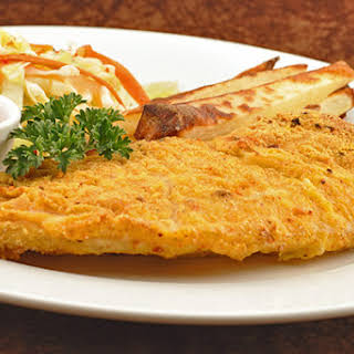 Spicy Baked Fish and Chips with Creole Ketchup.