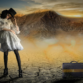 Time To Go... by Ilkgul Caylak - Digital Art Things ( cool, edited, clouds, beautiful, nice, dramatic sky, photography, photooftheday, amazing, mountains, girl, sky, awesome, woman, dramatic, editoftheday, photo editing, photoshop )