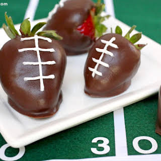 Chocolate-Covered Strawberry Footballs.