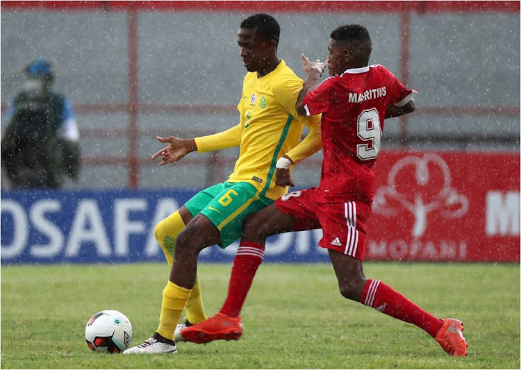 Bidvest Wits and South Africa Under-20 (Amajita) midfielder inn action against Mauitius in their opening game of the 2017 Cosafa Cup Championships held in Zambia.